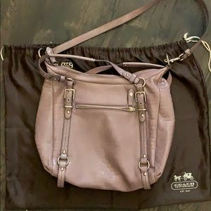 Coach Bags - Purple Coach Alexandra crocodile large hobo bag